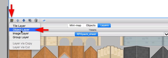 Tiled Object Layer highlighted in blue