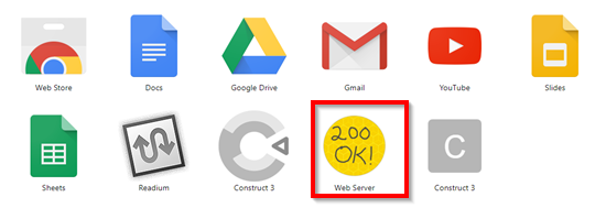 Chrome Web Server icon button