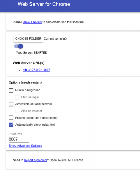 Chrome Web Server options screen