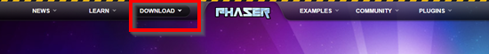 Phaser.io website with Download menu option circled