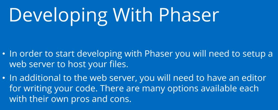Summary for tutorial on getting Phaser setup