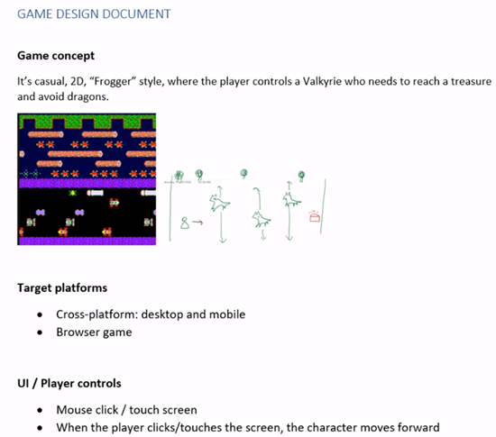 Game Design Document filled out regarding Frogger style game