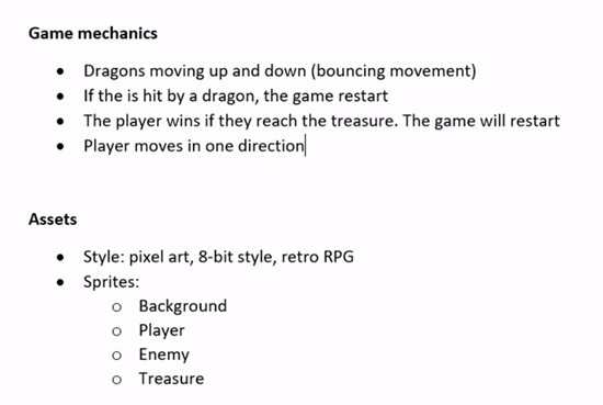 Game Design Document explaining game mechanics and assets